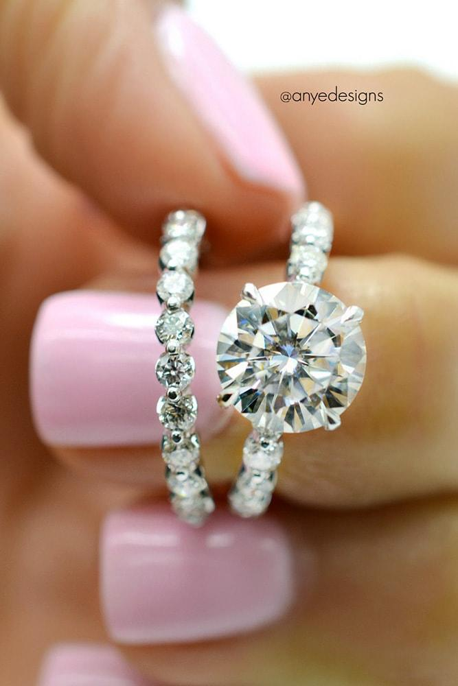 cheap engagement rings white gold round cut moissanite solitaire engagement rings in sets pave band classic brilliant
