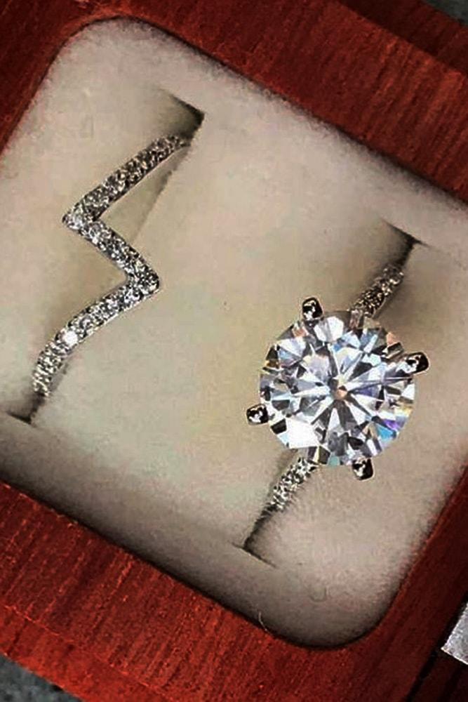 cheap engagement rings white gold round cut moissanite solitaire engagement rings in sets pave band like lightning