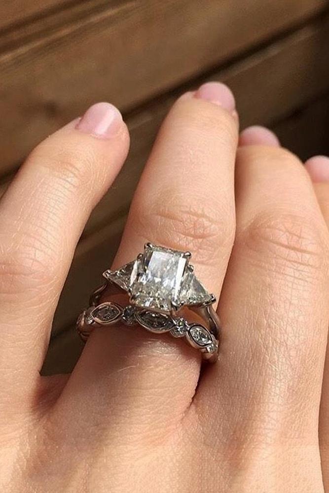 custom engagement rings white gold engagement rings asscher cut engagement rings three stone engagement ring