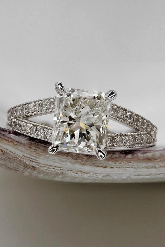 custom engagement rings white gold engagement rings split shank custom rings princess engagement rings