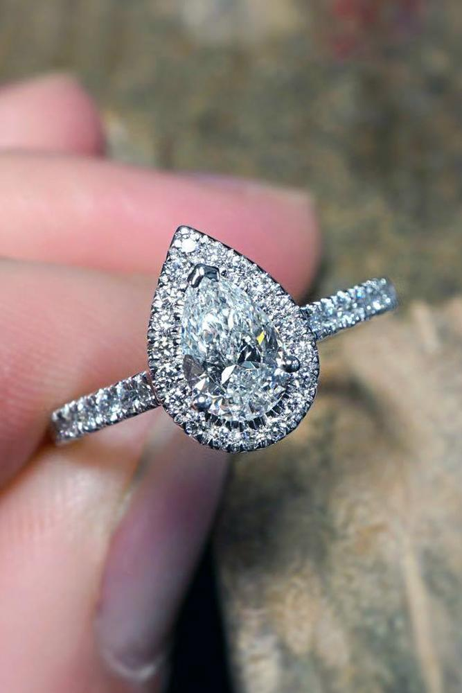 diamond halo big pearcut diamond with brilliant halo and pave band in platinum