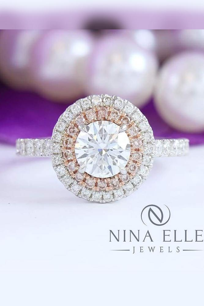 diamond halo double halo around round cut stone in white and rose gold in pave band