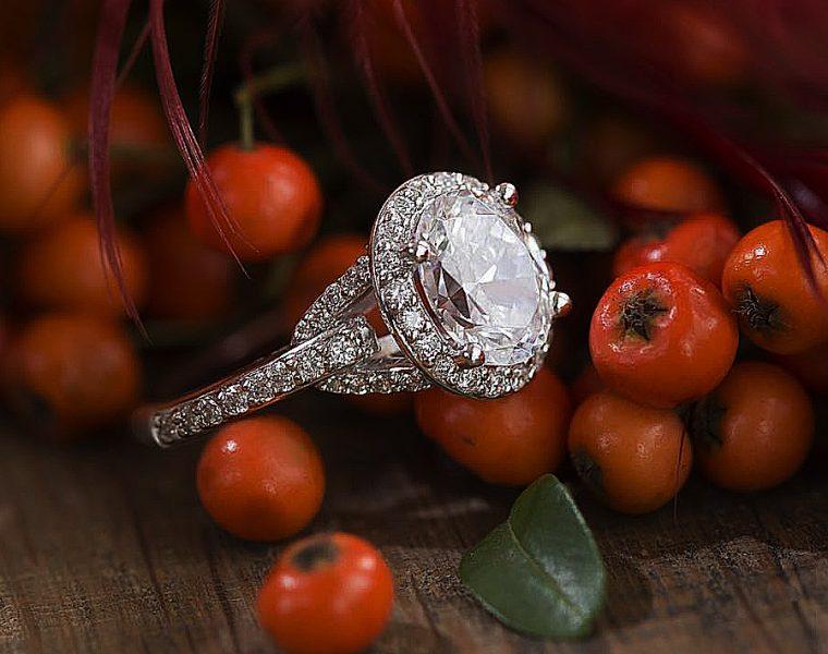 diamond halo round cut pave band white gold