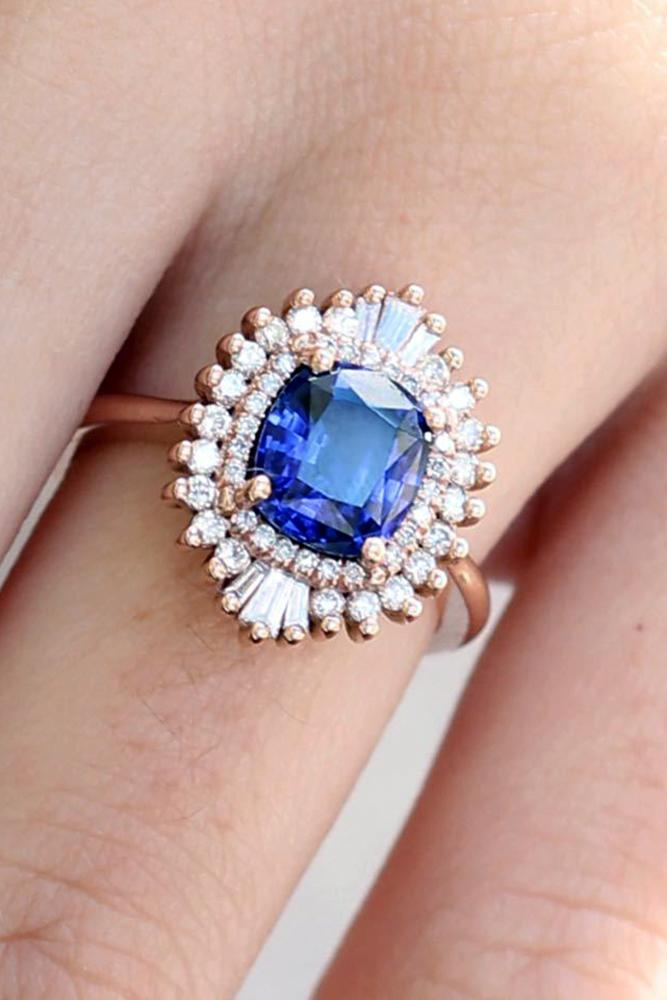 diamond halo sapphire ring with diamond halo in a floral style