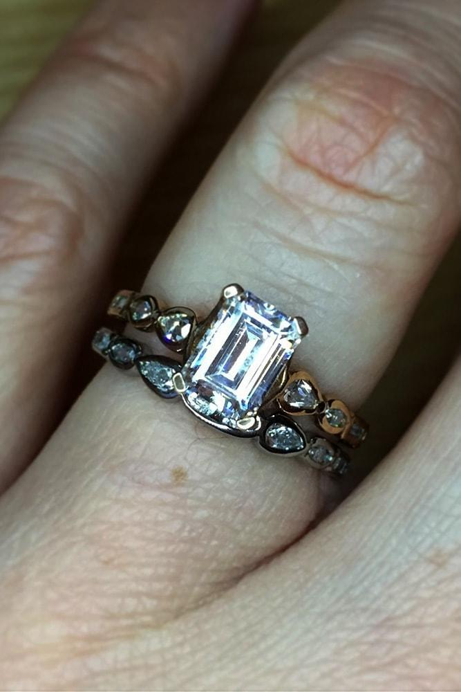diamond wedding rings rose gold emerald cut diamond pave band with diamonds