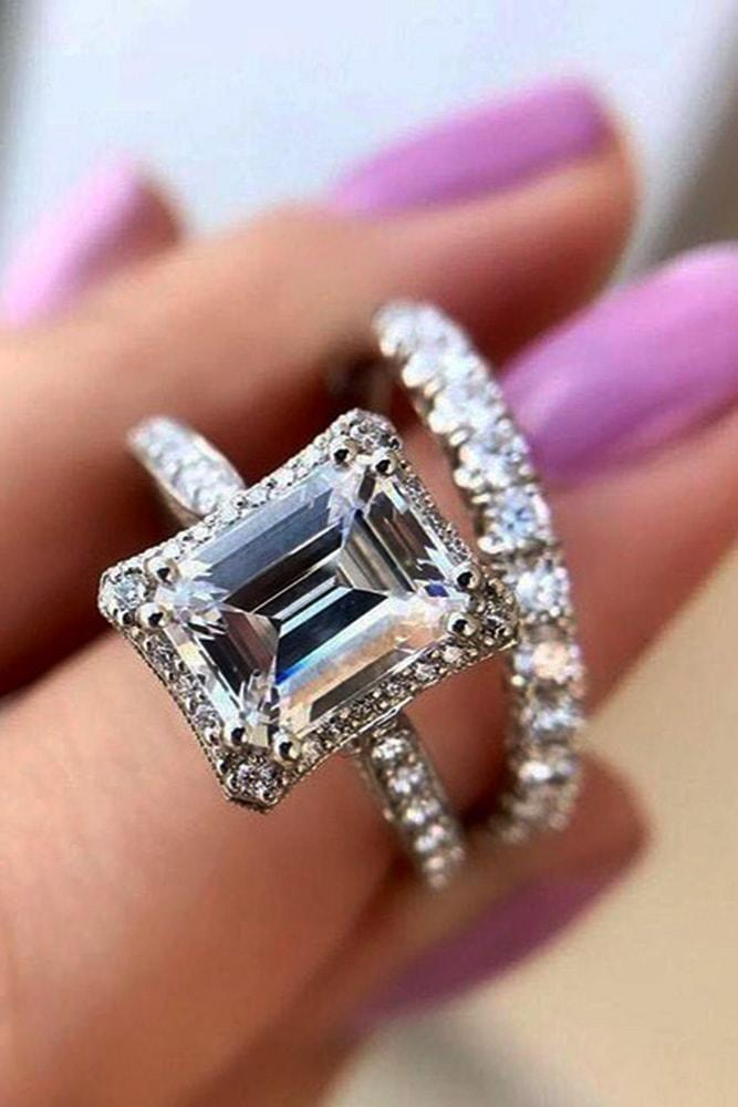 diamond wedding rings white gold emerald cut diamond halo pave band with diamonds sparkling