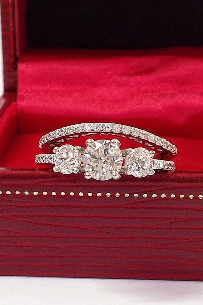 diamond wedding rings white gold round cut diamonds three stones