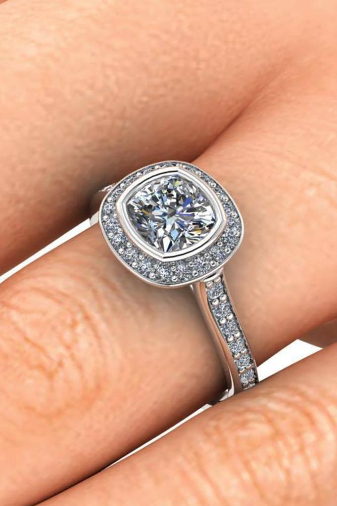engagement ring shapes cushion cut diamond in brilliant halo and white gold setting