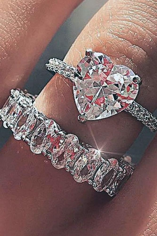 engagement ring shapes huge heartcut diamond stone inwedding ring set with pave band