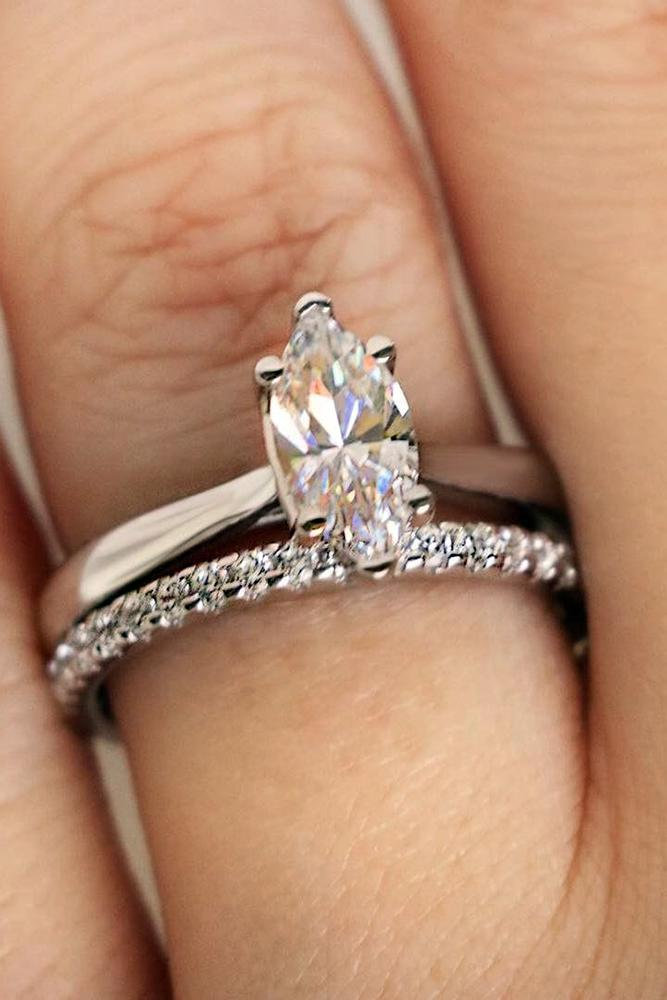 engagement ring shapes marquisecut diamond stone in wedding set with pave band