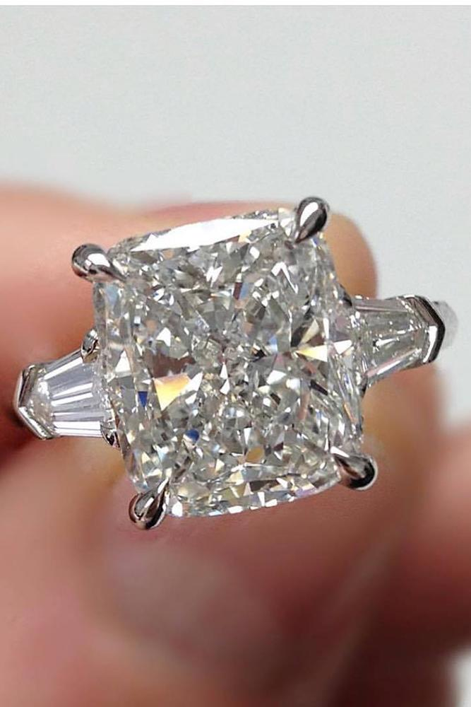 engagement ring shapes one big cushion cut diamond stone in brilliant pave band