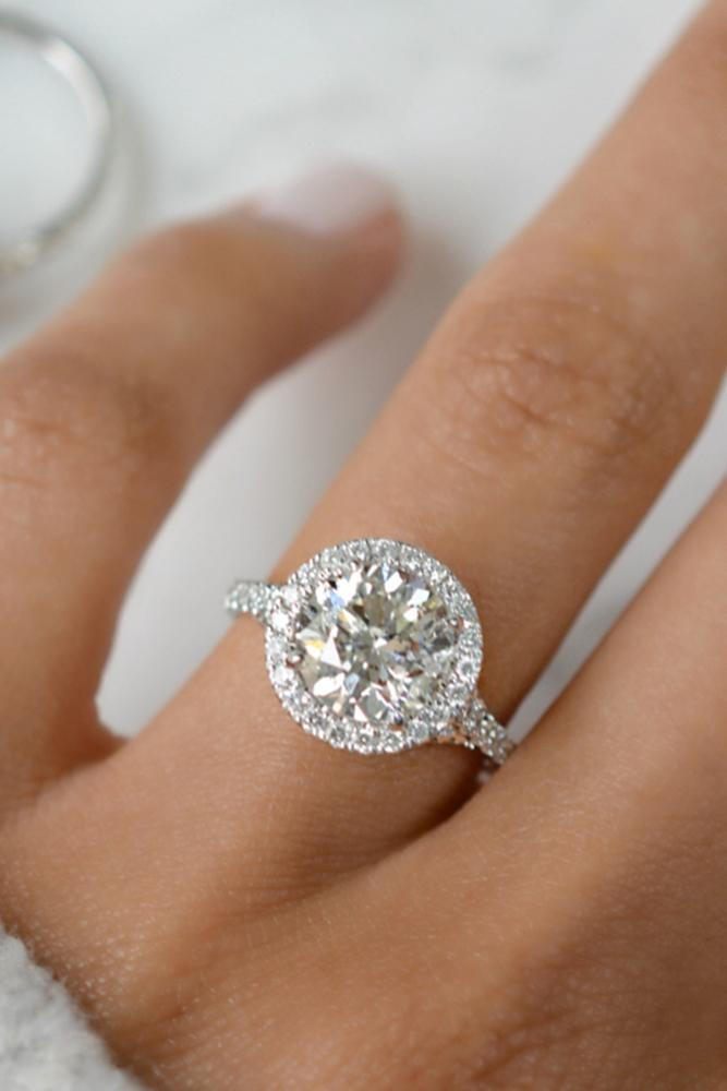 engagement ring shapes one roundcut diamond in brilliant halo and pave band