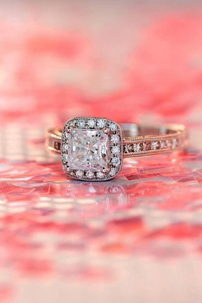 engagement ring shapes princess cut diamond halo rose gold pave band diamonds