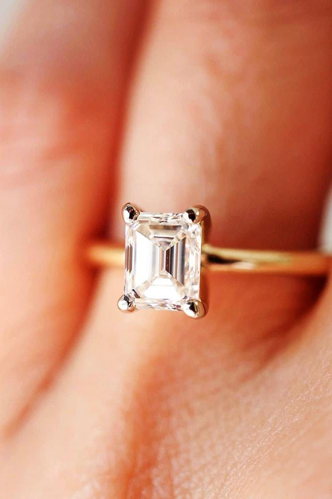 engagement ring shapes sparkling emerald cut solitaire engagement ring rose gold pave band classic