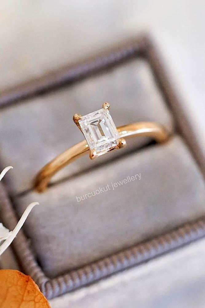 engagement ring shapes sparkling emerald cut solitaire engagement ring rose gold pave band simple