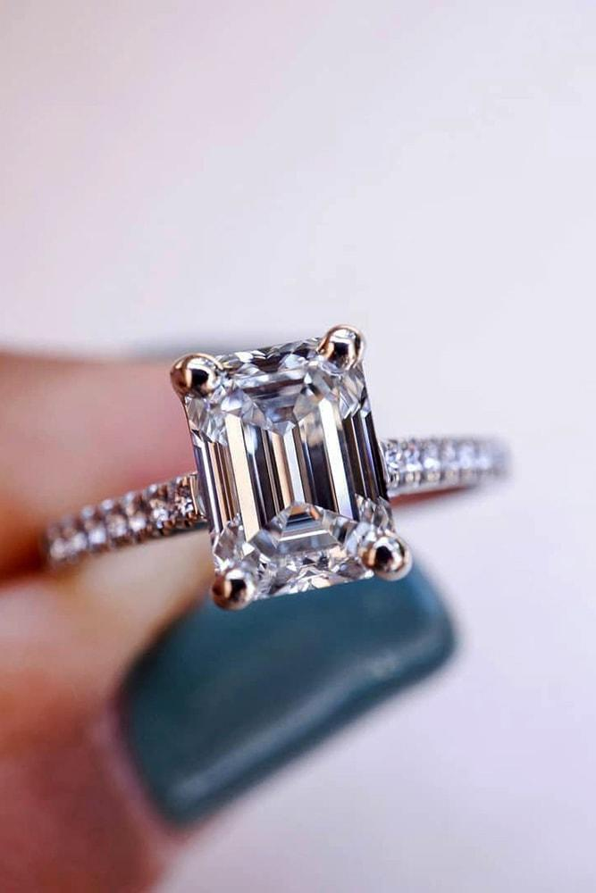 engagement ring shapes sparkling emerald cut solitaire engagement ring white gold pave band classic