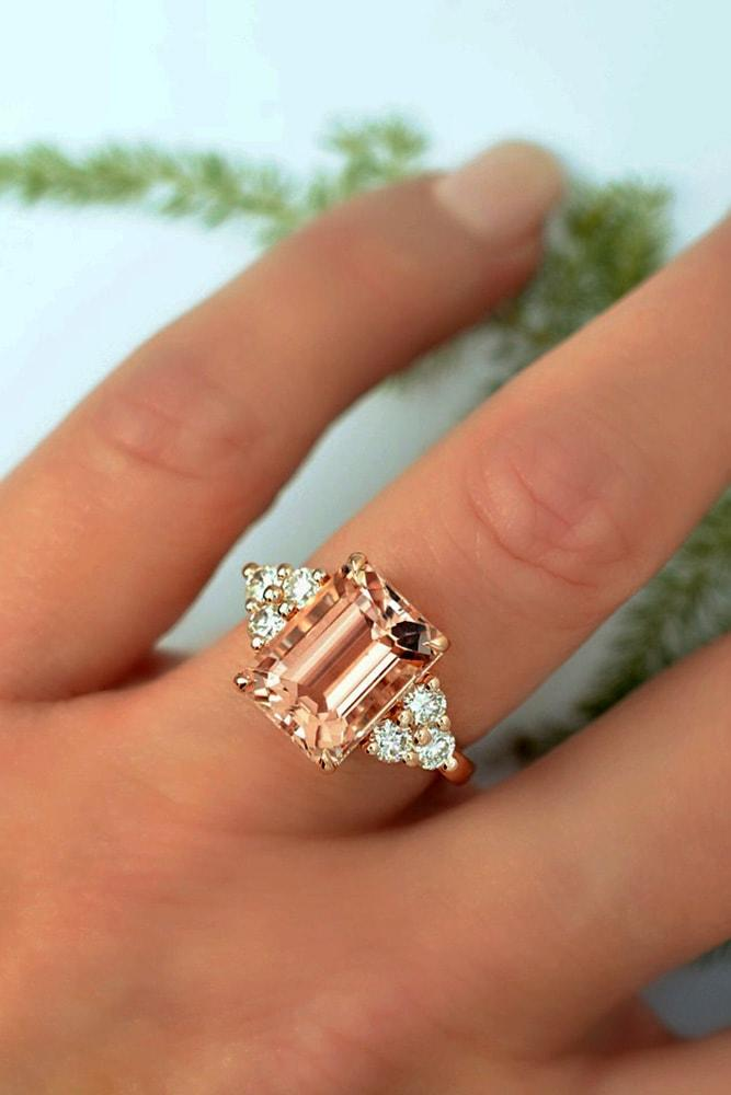 morganite engagement rings rose gold emerald cut morganite round cut diamonds on both sides pave band simple