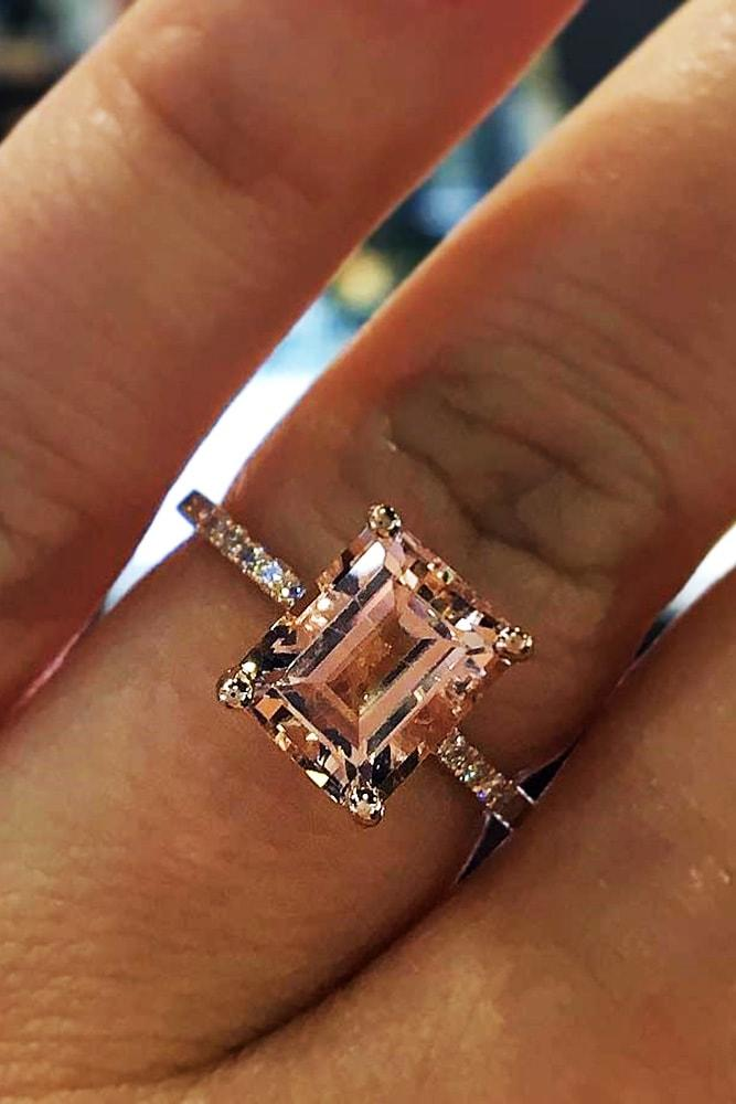morganite engagement rings rose gold emerald cut morganite solitaire pave band