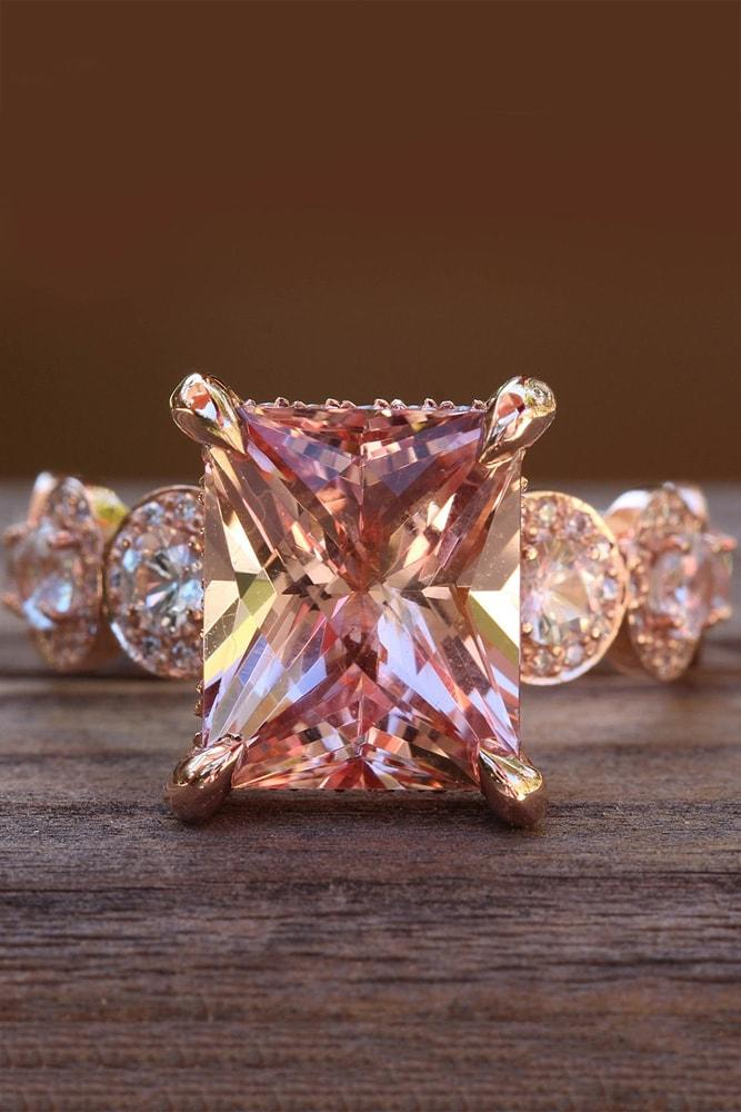 morganite engagement rings rose gold radiant cut morganite solitaire pave band chic