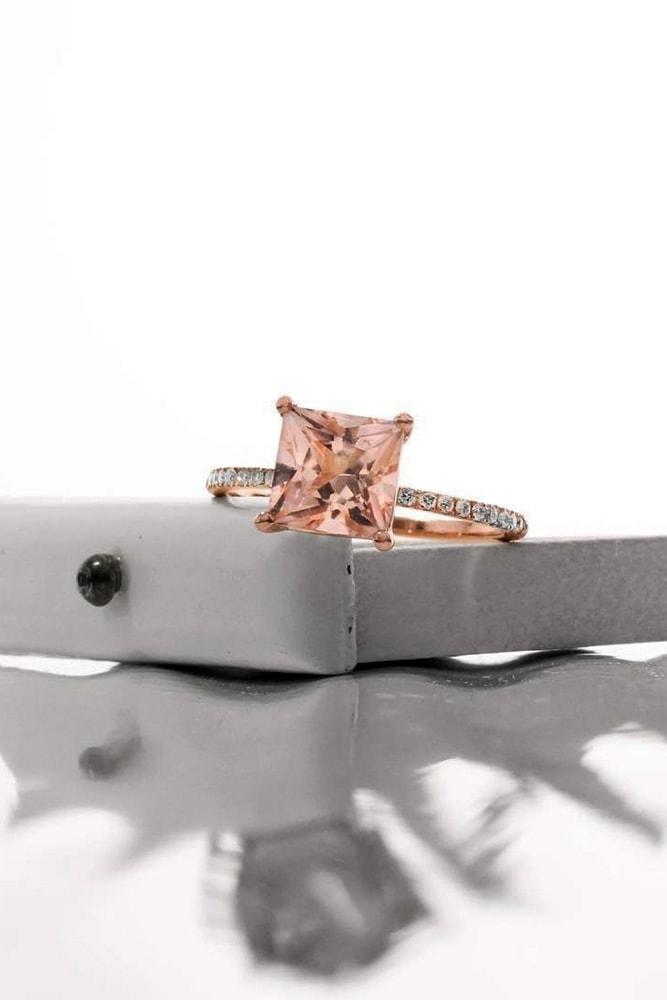 morganite engagement rings rose gold princess cut morganite solitaire pave band classic sparkling