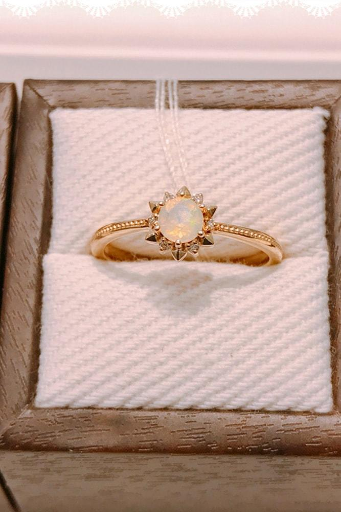 opal engagement rings rose gold engagement ring round cut opal ring flower engagement ring