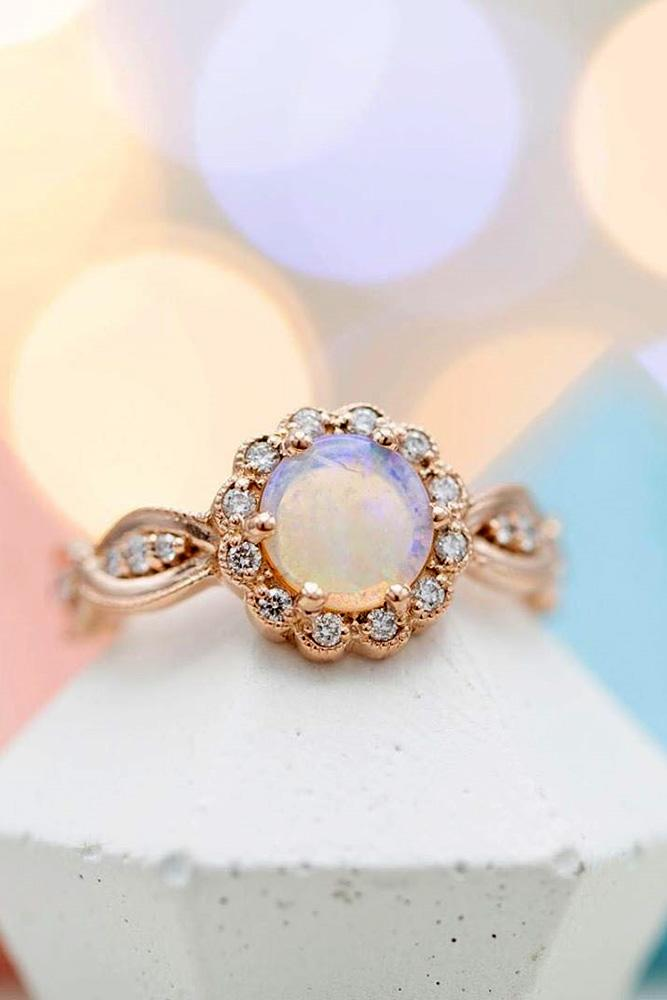 opal engagement rings rose gold engagement rings floral rings