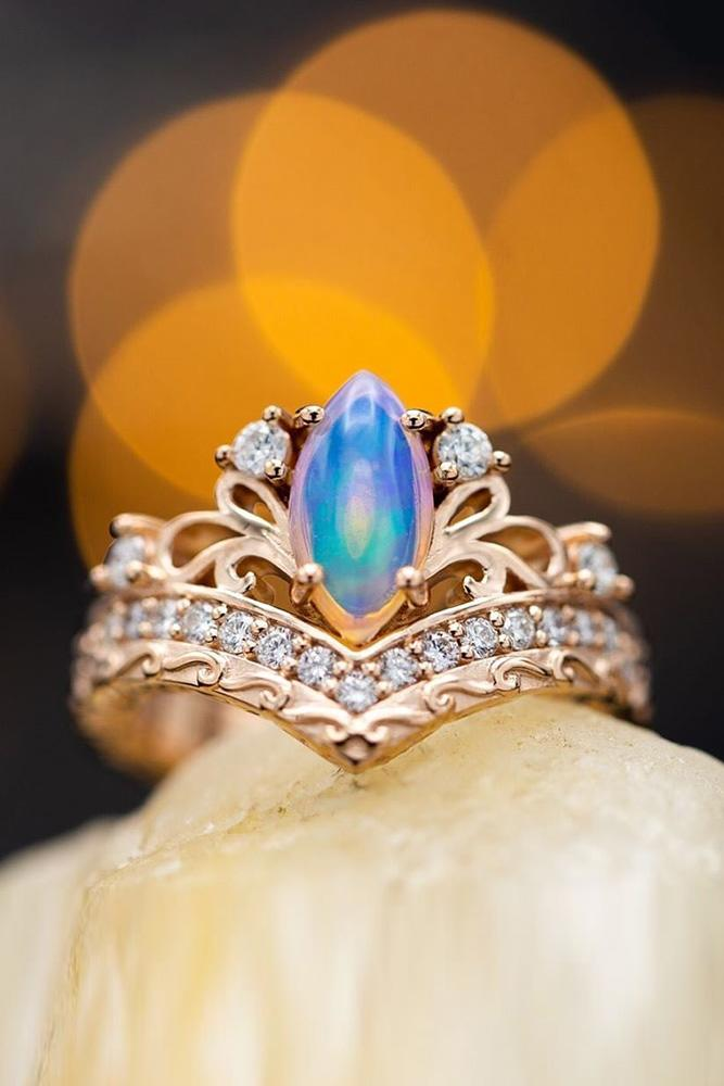 opal engagement rings rose gold engagement rings marquise cut rings
