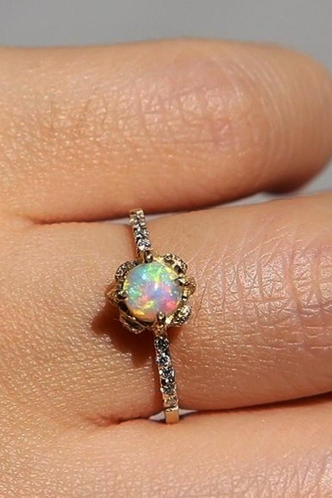opal engagement rings rose gold tender round opal ring pave band sparkling