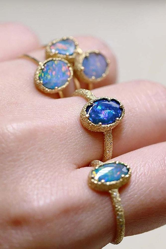 opal engagement rings yellow gold beautiful oval cut blue opal rings