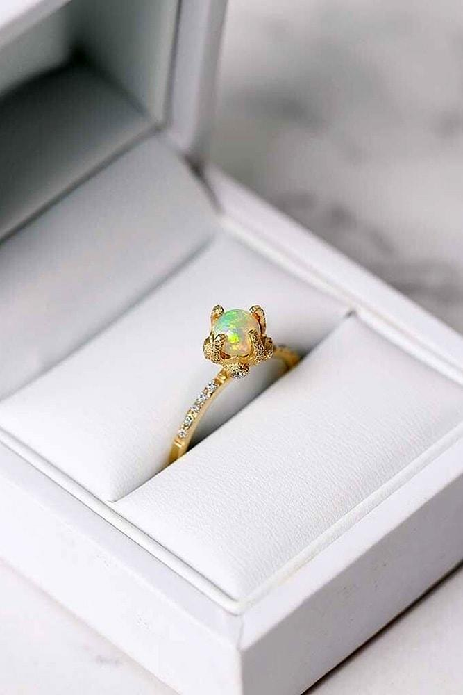 opal engagement rings yellow gold tender round opal ring classic