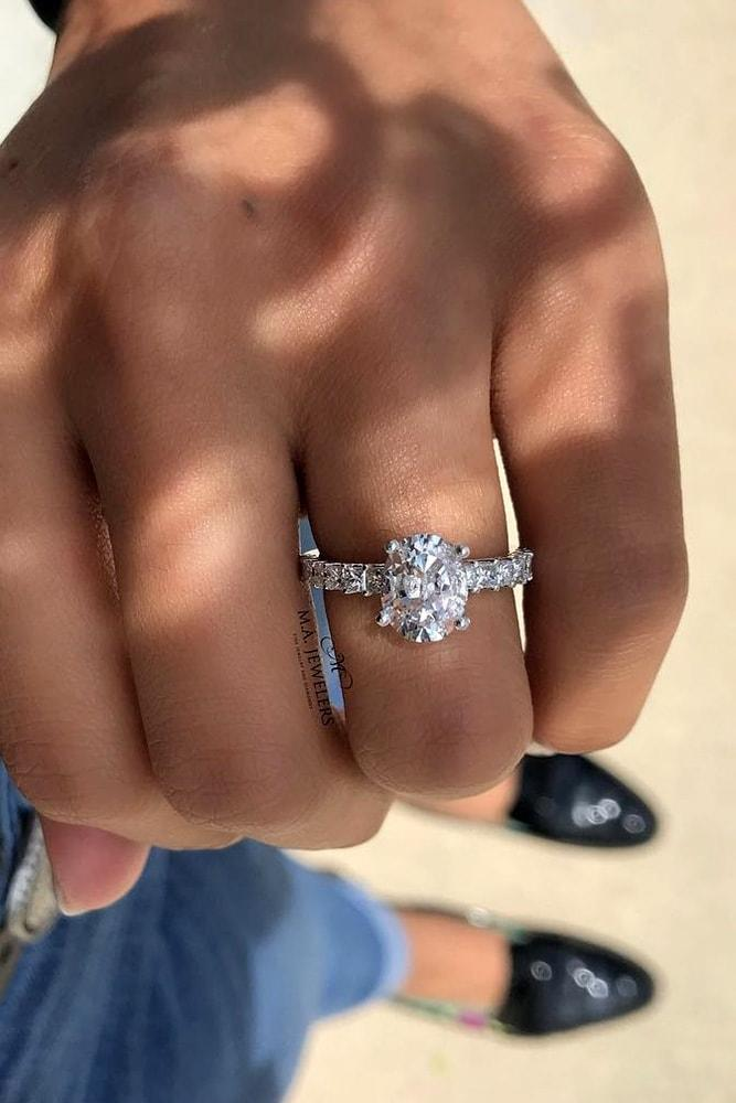 oval engagement rings white gold oval cut diamond solitaire diamond pave band brilliant