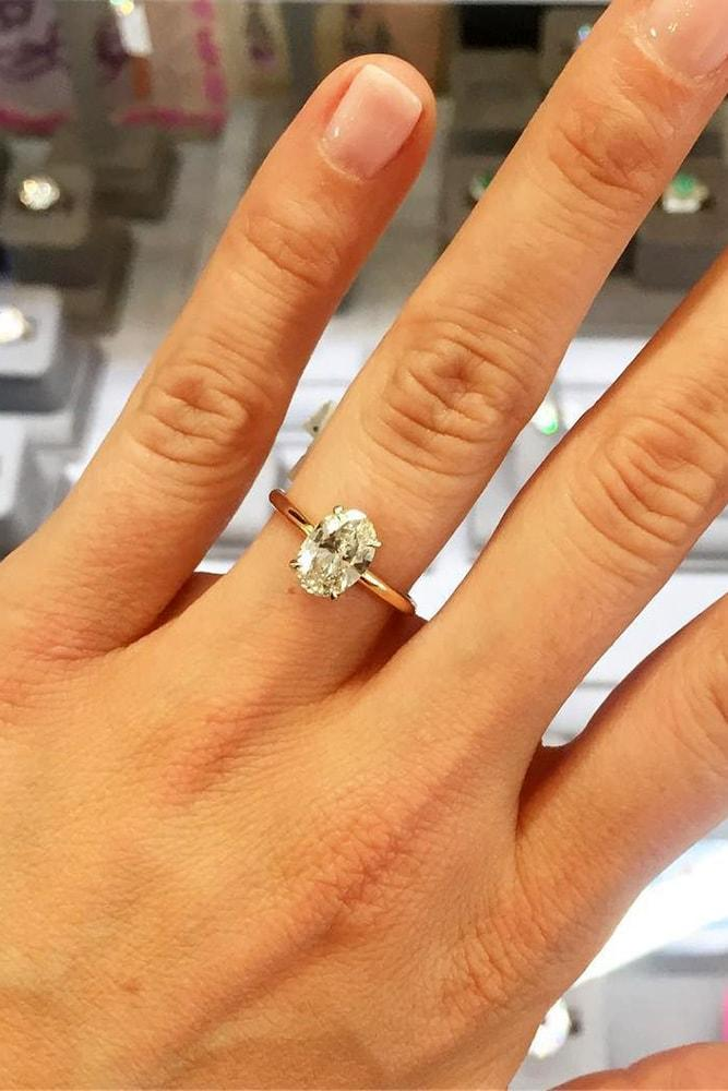 oval engagement rings yellow gold oval cut diamond solitaire classic engagement ring simple