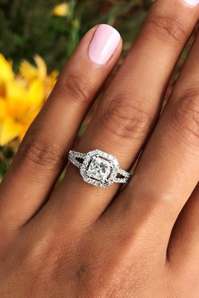 princess cut engagement rings white gold diamonds art deco princess cut diamond halo