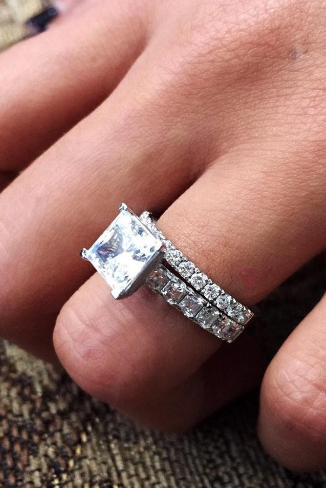 princess cut engagement rings white gold princess cut classic asscher cut band round cut