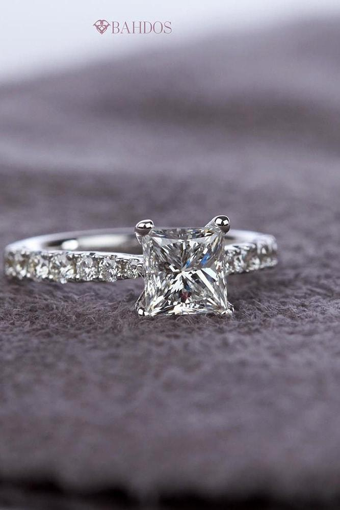 princess cut engagement rings white gold solitaire princess cut diamond and classic tapered diamond band