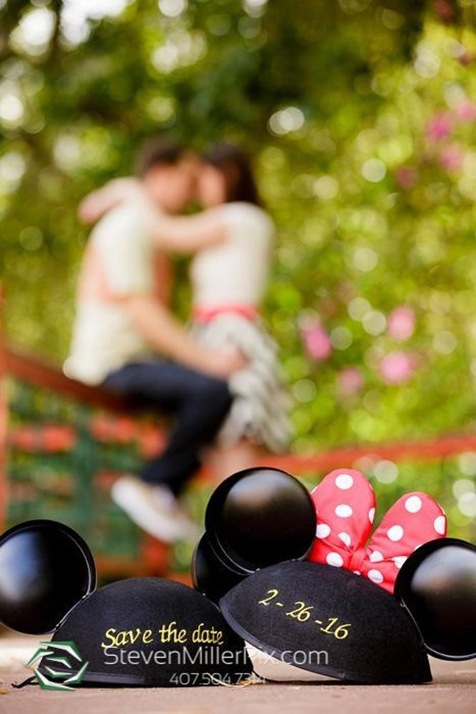 save the date ideas in disneyland with cute baseball caps mickey mouse ears