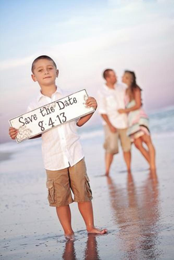 save the date photo ideas with boy on a beach