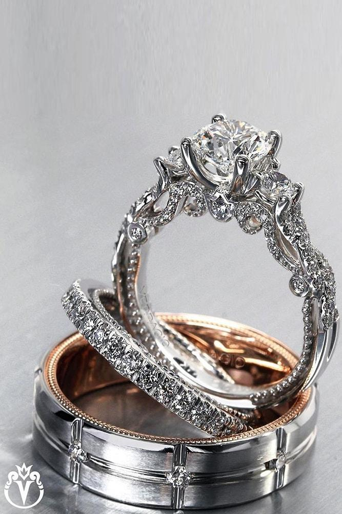 verragio engagement rings wedding ring sets white gold rose gold round cut diamond twisted band