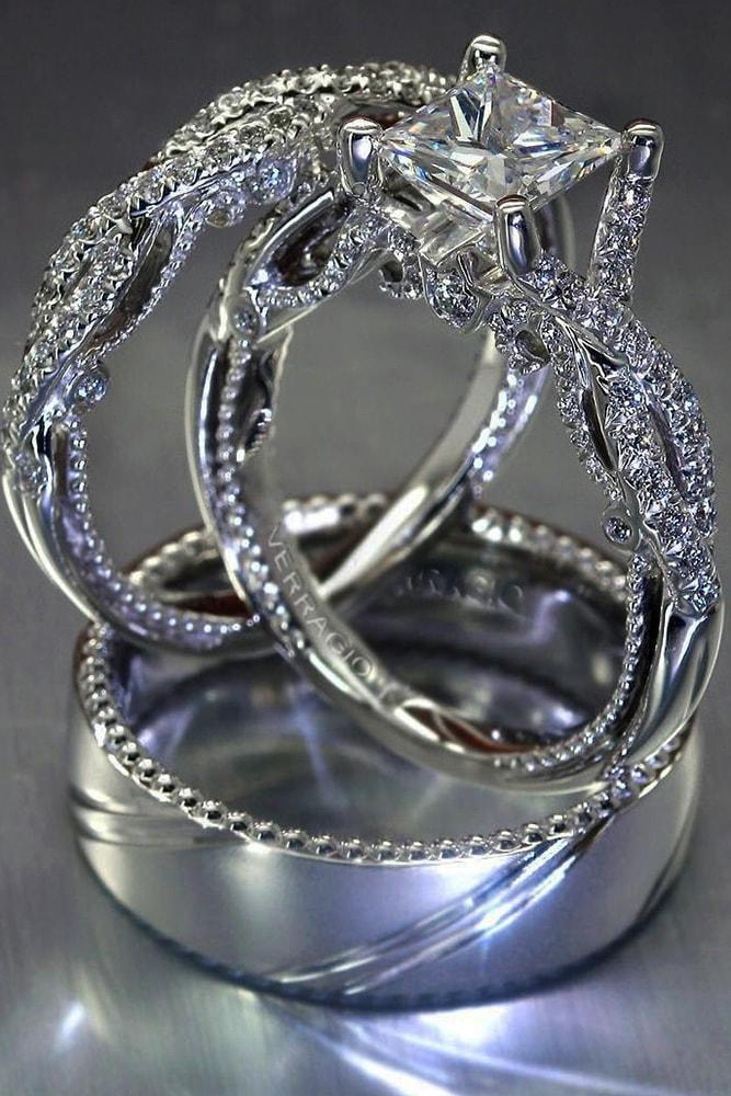 verragio engagement rings white gold cushion cut diamond twisted band amazing