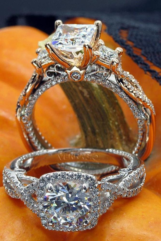 verragio engagement rings white gold rose gold princess cut and round cut diamond twisted band sparkling