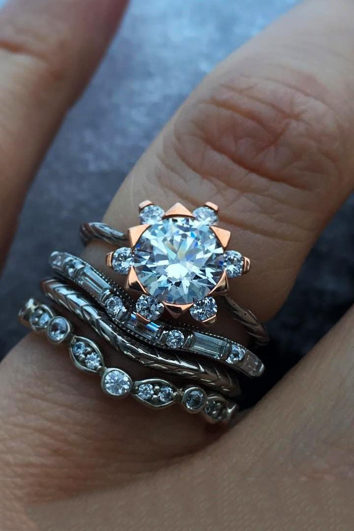 wedding ring sets mixed metals platinum rose gold unique ring snowdiamonds baguette and round band