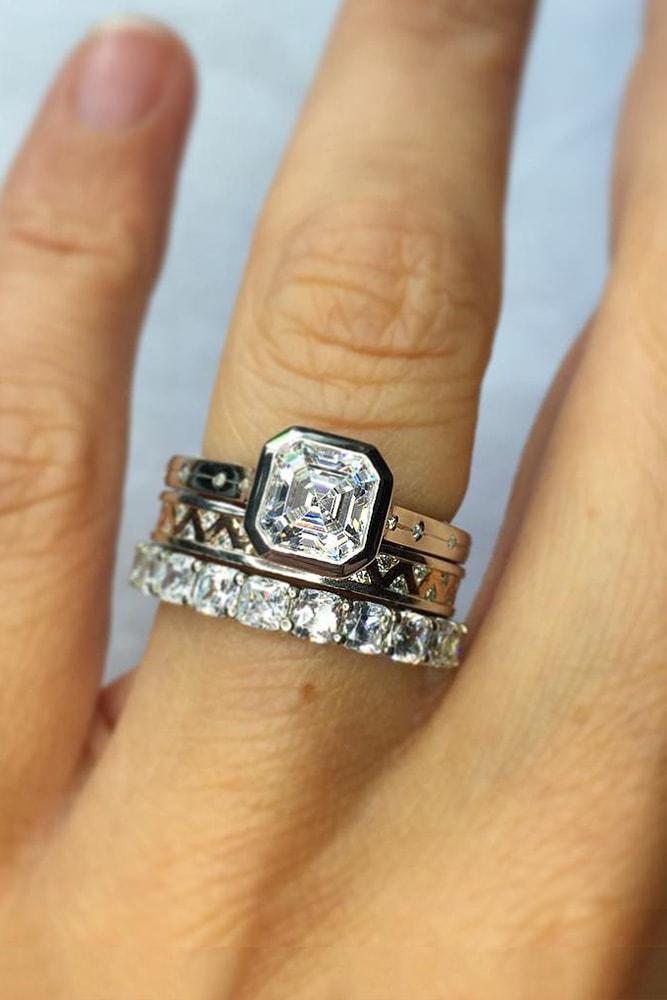 wedding ring sets mixed metals white gold rose gold cushion diamond modern cushion eternity band