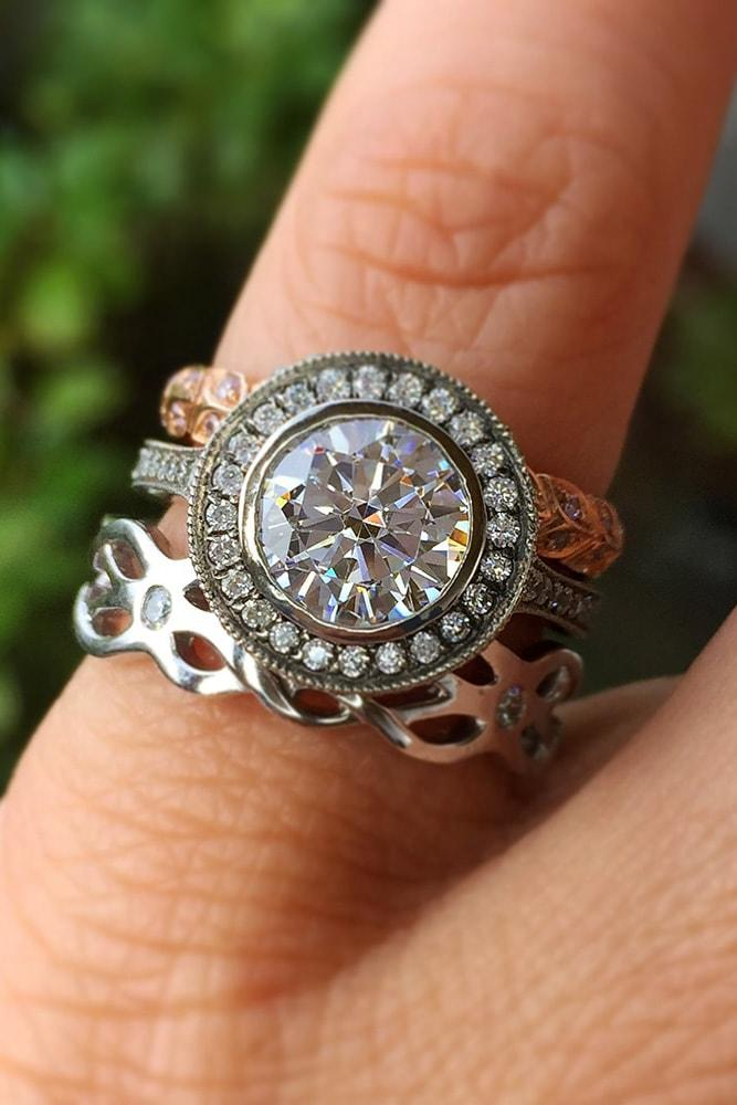 wedding ring sets mixed metals white gold rose gold unique ring round cut diamond halo twisted band florall
