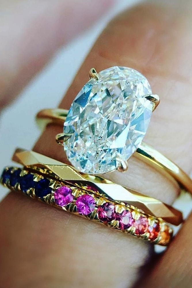 wedding ring sets yellow gold oval cut gemstone solitaire ombré sapphire band amazing