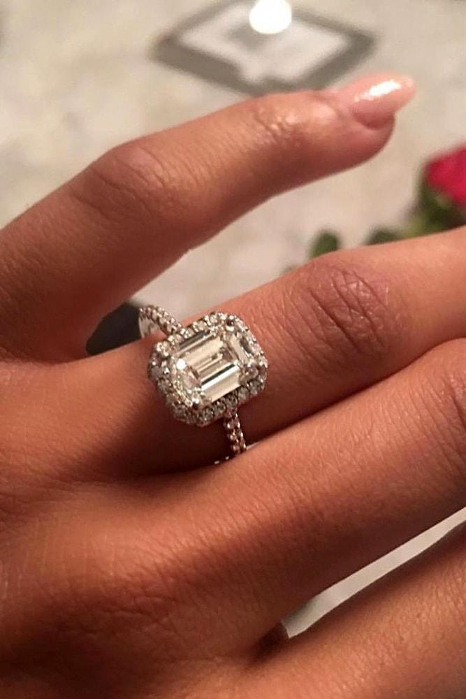 white gold engagement rings emerald cut diamond halo pave band classic