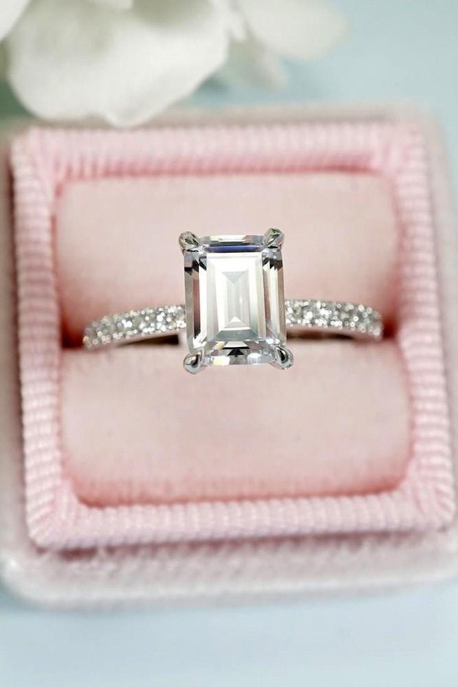 white gold engagement rings emerald cut diamond solitaire pave band with diamonds classic