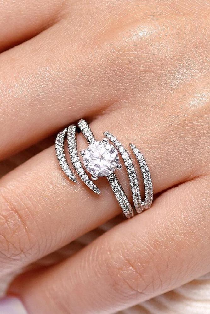 white gold engagement rings modern and unique ring round cut diamond solitaire pave band split shank unique design
