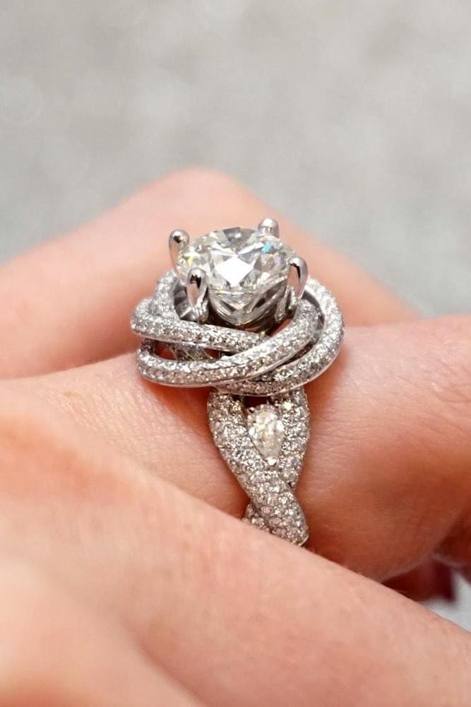 white gold engagement rings modern and unique ring round cut diamond solitaire pave band twisted bands flower elements