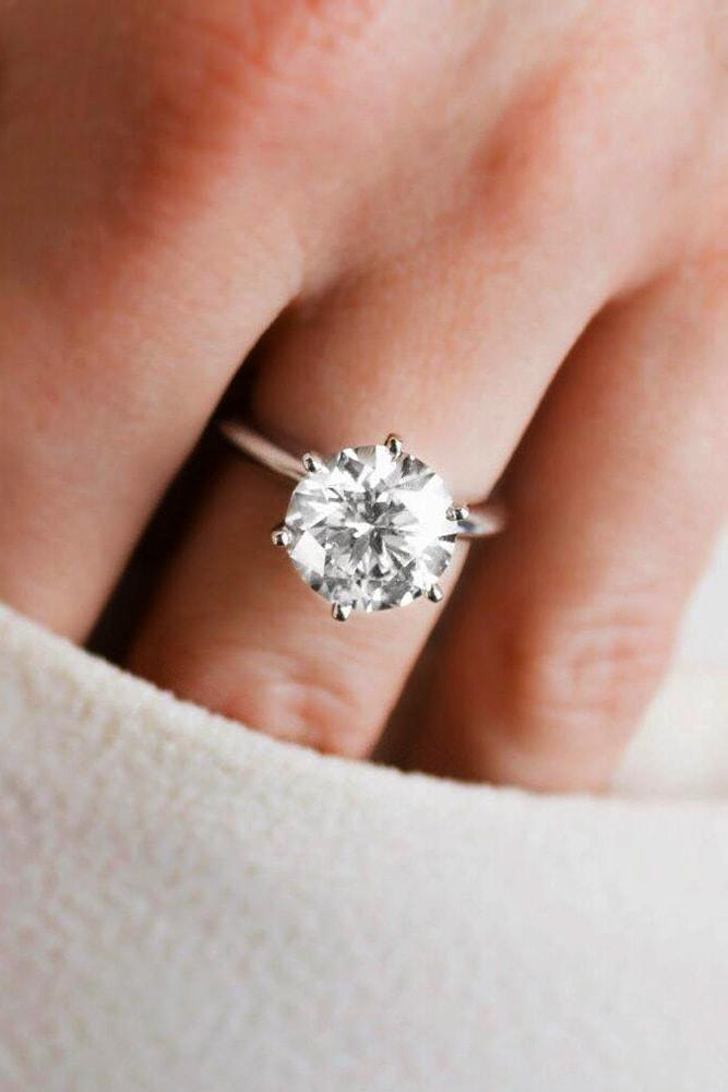 white gold engagement rings round cut diamond solitaire pave band simple classic