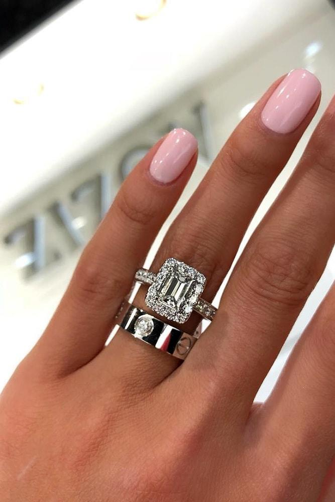 white gold engagement rings sets emerald cut diamond halo pave band with diamonds modern